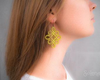 Pistachio tatting earrings Little Summer   green textile Jewelry   bright dangle earring   hippie fashion   weightless fabric jewellery