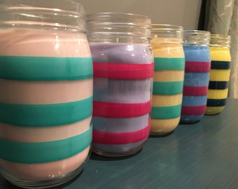 Pick 2: Tall Striped Jar, All-Natural Soy Candle