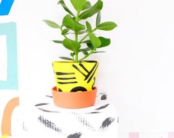 Indoor Planter Plant Pot Painted Terracotta Clay Pot 'I Wonder' Medium 13cm