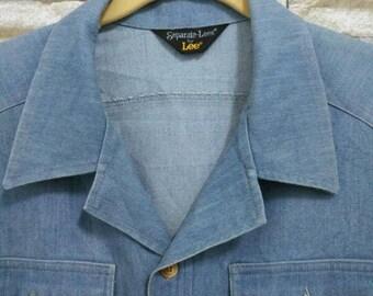 RARE 70's LEE Vintage Western Shirt Blue Denim Jeans Short Sleeve Button Down Separate Lees By Lee American