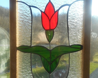 Beautiful Stained Glass Red Tulip Flower Un-Framed Panel Wall Art