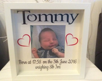 Personalised birth detail photo box  frame memory box