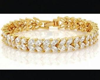 14k Yellow Gold Filled White Sapphire Bracelet