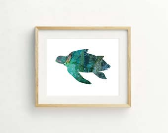 Blue Sea Turtle Print