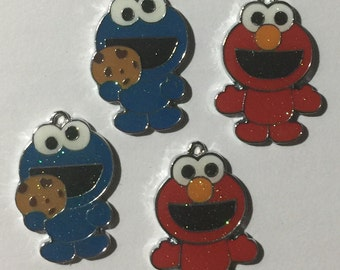 Cookie Monster and Elmo Charms