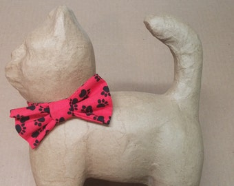 Red Cat Bow Tie with Black Paw Prints
