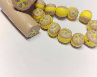 Baked yellow flowers beads and raw cane set, jewelry making kit.