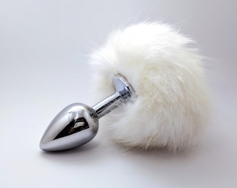 White bunny tail butt plug - Anal plug tail - Adult toys - Anal decoration - Sexy erotic - Anal jewelry - BDSM toy - Bunny sex bdsm - Mature