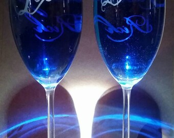 Champagne Glasses Etch Personalized  Acid Etched Bride Groom