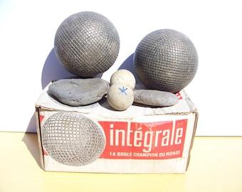 1 pair of balls striated Lyonnaise integral 50's - Ø 93 mm - weight: 1033 g - 1 pair of balls Lyonnaise striated full 50's