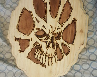 Skull wood plaque