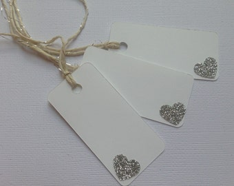 Favor Tag/Favour Tag/Gift Tag. Silver Heart. White Tag. Pack of Twelve.