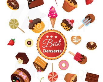 Desserts Clipart collection, delicious cakes Clipart, cupcakes Clipart, Party donuts Graphics, Printable dessert Illustrations. Vector files