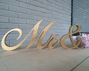 Script letters table sign Mrs and Mr for wedding table  - gold silver Mrs and Mr, Mrs and Mr letters glitter, wooden letter Mrs and Mr