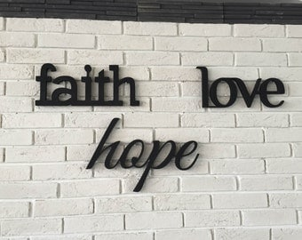 Wood signs Faith, Hope, Love. Home decor signs  - a set of wood signs for wall decor. Love sign. Hope sign. Faith sign. Love, Faith, Hope