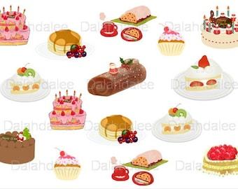Cake Clip Art, Digital Cake Clipart, Sweet Clipart, Sweet Scrapbook, Party Cake Clipart, Digital Sweet Clipart, Roll Cake Clipart