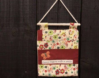 smile wall hanging, peace begins with a smile, Thich Nhat Hanh, patchwork, quilted, butterfly, applique