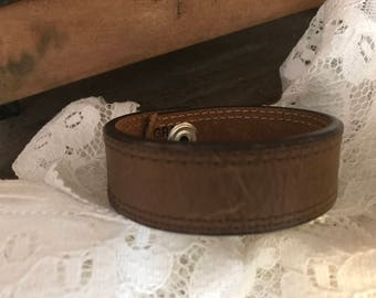 Distressed Upcycled Plain Brown Leather Cuff