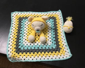 Crochet Sleeping Bear Snuggle Blankie