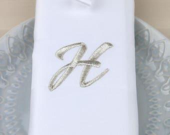 Set of 4 Monogrammed Napkins / Linen Napkins /  Embroidered Napkins / Wedding shower gift / Wedding linens / Font 21