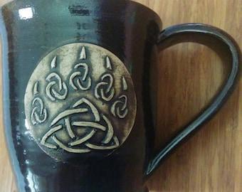 Celtic knot bear claw mug, large 16 ounce handmade ceramic mug for coffee or tea, #81