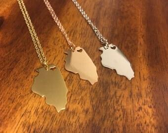 Illinois Necklace - Illinois Pendant - Illinois Charm - Illinois Outline - Illinois Jewelry - Chicago Necklace - Illinois - Chi