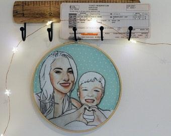 Custom Handmade Embroidery Illustration Hoop - Couples & Families
