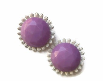 Vintage daisy earrings / purple /