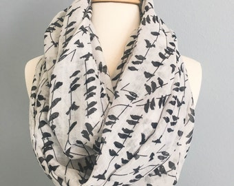 Black birds on tree Infinity Scarf with pretty gift box, white scarf,  Birthday gift, Christmas Gift, Women's scarf, Fall Winter Scarf.