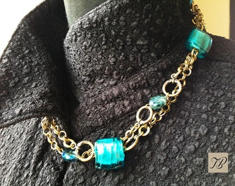Tangy blue PEARLS and CHAINS NECKLACE turquoise, barley sugar, friendship gift, Christmas.