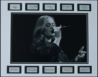 "ADELE ""Eyes Closed"" 2016 Black & White concert photo matted with handwritten song lyrics confetti (Mat/Frame size 16″ x 20″)"