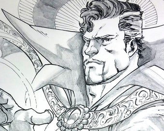 11x17 Dr. Strange Ink Wash Original Art