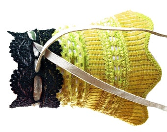 Cuffs Stülpchen flashy green mustard laced