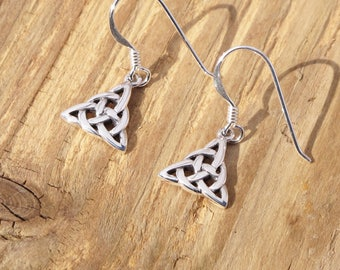 Sterling Silver Celtic Triquetra Knot Goddess Drop Earrings