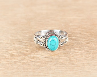 Turquoise Ring, Vintage Jewelry, Sterling Silver Turquoise Ring, Statement Ring, Boho Ring, Blue Jewelry, Handcraft Jewelry, Gift For Her,