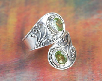 Peridot Ring, Sterling Silver Ring, Adjustable Ring, August Birthstone Ring, Boho Jewelry, Green Stone Ring, Statement Ring, BJR-425-PRC