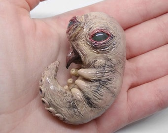 Polymer clay Monster baby, creature figure, monster sculpture, fantasy monster, pocket totem, baby monster, ooak art doll, polymer clay art
