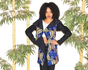Cardigan vest Bi WAX fabric