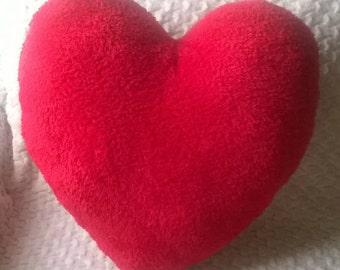 Heart Shaped Pillow, Red fleece heart pillow