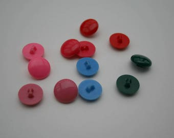 Round thin buttons - Pink/Red/Green/Blue - Plastic