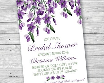 Lilac Bridal Shower Invitation, Lavender Bridal Shower Invitation, Printable Invitation, Purple Bridal Shower Invitation, Purple and Green