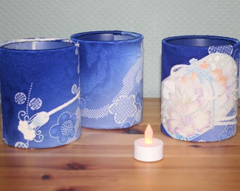 Vintage Japanese Kimono Silk Table Lanterns - set of 3