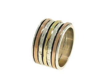 Spinner Bands Wedding & Engagement ring 3 colors: silver, gold and rose gold for Men and Woman HANDMADE jewelry.