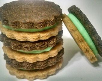 Peanut Butter & Carob Sandwich Dog Treats Cookies St Patrick's Day Grain Free Yogurt Filling