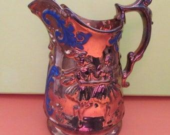 Antique Gift. Antique Victorian Copper Lustre. Antique Glazed Jug with Dancing Figures. Antique Jug. Copper Lustre. Ugly Kitsch.