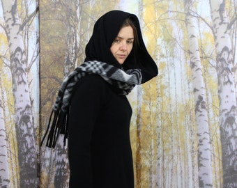 great extra long and wide woollen shawl scarf black, checkered, fringed, wool stoles