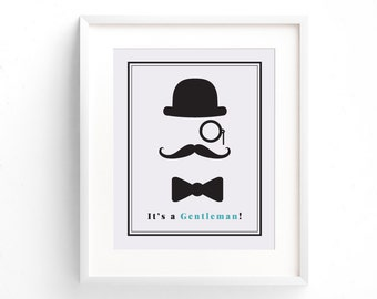 Printable Gentleman Decor For Your Little Ones Bedroom Wall, 5 x 10 or 8 x 11 inch Art Prints Will Fit Perfectly In Your Mans Area, Top Hat