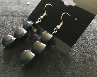 Black Cubic Dangle Earrings