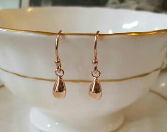 Beautiful handmade rose gold teardrop earrings