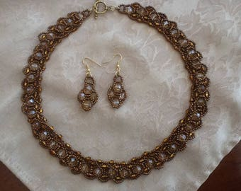 Antique gold colored seed bead necklace and earring set